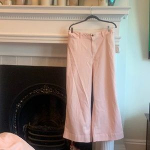 Wide leg pink jeans